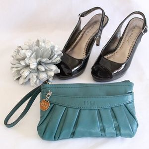 Elle Teal Pleated Clutch Purse